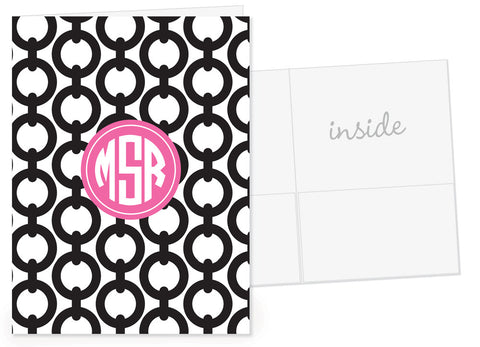 Black chain pattern with monogram feature in hot pink pocket folder
