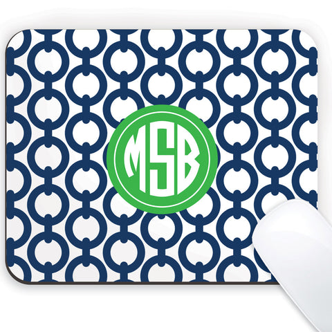 Navy chain with green monogram medallion mousepad