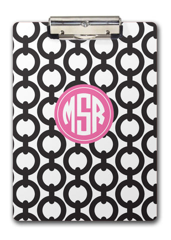 Black chains with a hot pink feature for monogram two-sided clipboard
