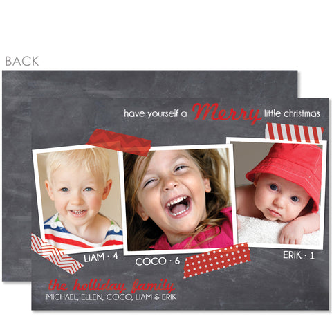Chalkboard Washi Tape Holiday Photo Card