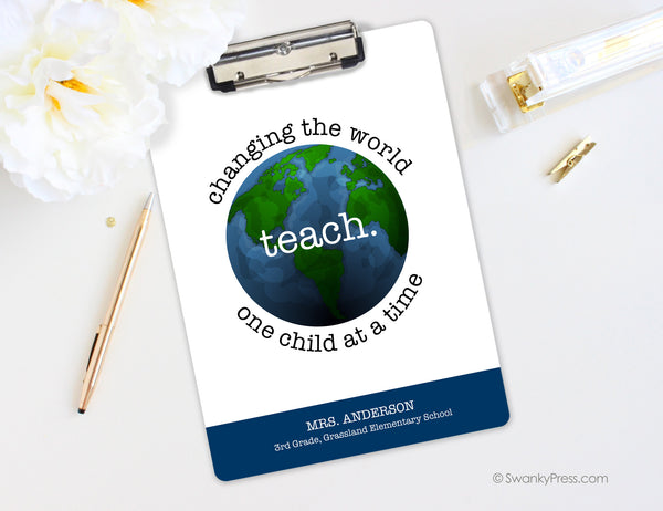 "teach clipboard ""changing the world one child at a time"" 