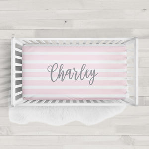 Striped Personalized Crib Sheet