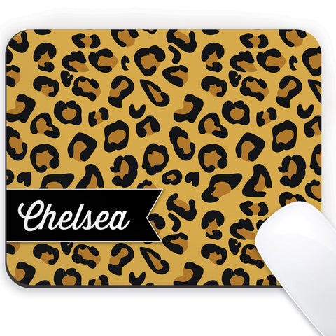 Cheetah design with a name mouse pad