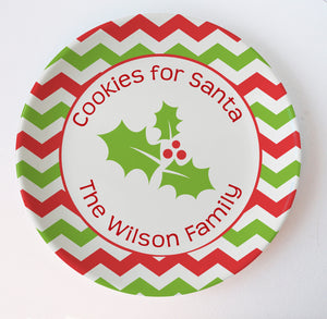 Chevron in red and green Christmas melamine plate