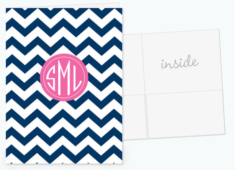 Chevron in blue with hot pink for monogram pocket folder