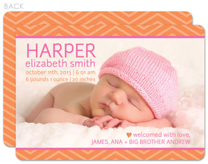 Chevron Tangerine Birth Announcement