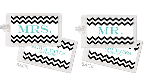Chevron honeymoon bag tags in black and aqua
