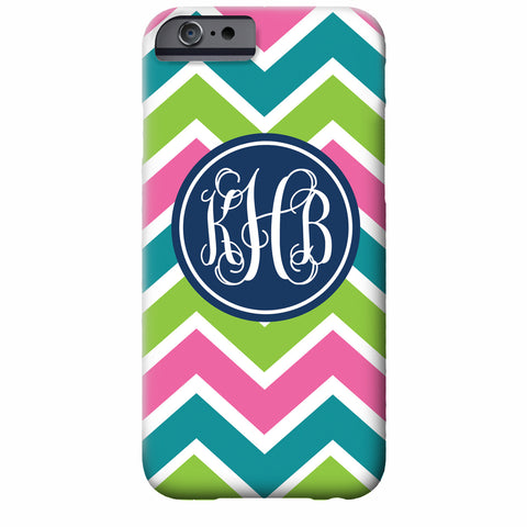 Monogrammed Multicolor Chevron iPhone Case | Swanky Press