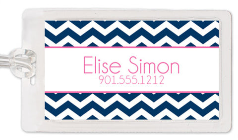 Chevron in navy with pink luggage tag