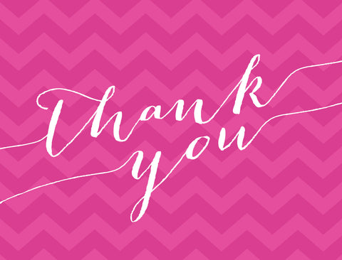 chevron folded thank you note