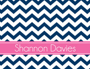 Chevron with band for name folded notecards