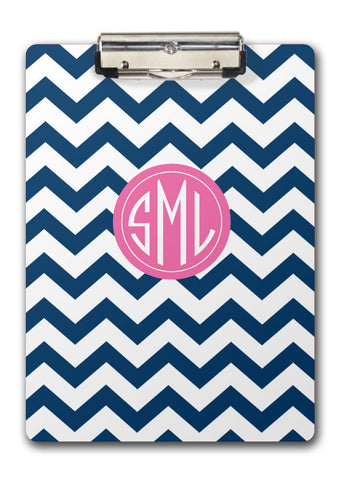 Navy chevrons with pink feature for monogram two-sided clipboards