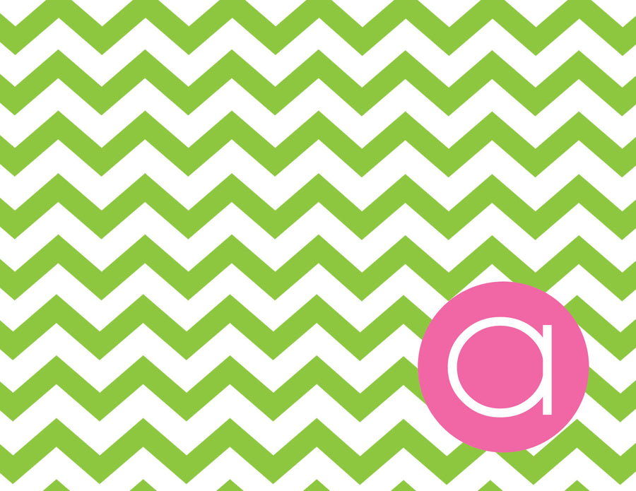 Chevron with dot for initial folded notecards