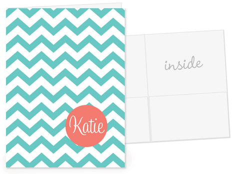 chevron in aqua with coral name dot pocket folder