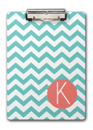 Aqua chevrons with coral name band for two-sided clipboard