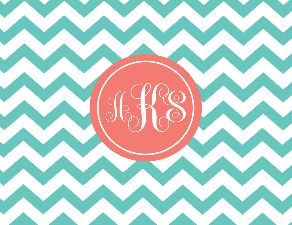 Chevron with monogram folded notecards