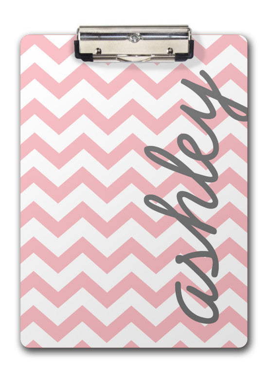 Pink chevron with vertical name clip board