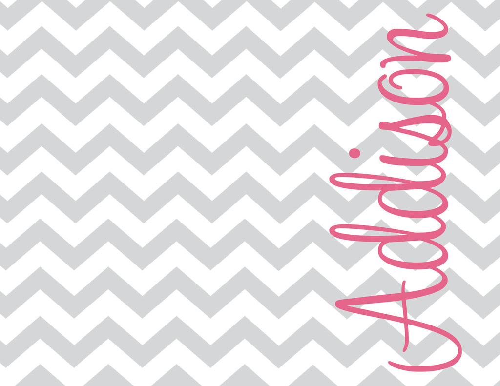 Chevron with name folded notecards