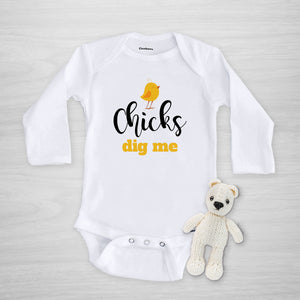 Chicks Dig Me Adorable Gerber Onesie - Perfect for Easter, long sleeved