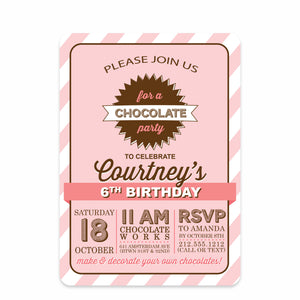 Pink Chocolate Party Birthday Invitation | Swanky Press | Front