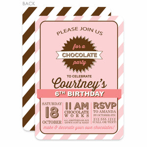 Chocolate Party Birthday Invitation | Swanky Press | Pink