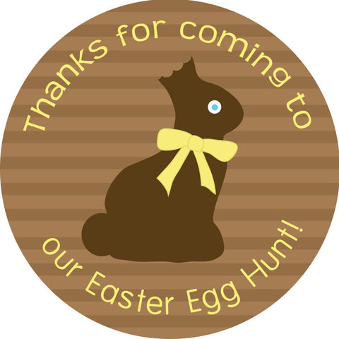 Chocolate bunny brown and yellow round gift sticker for Easter