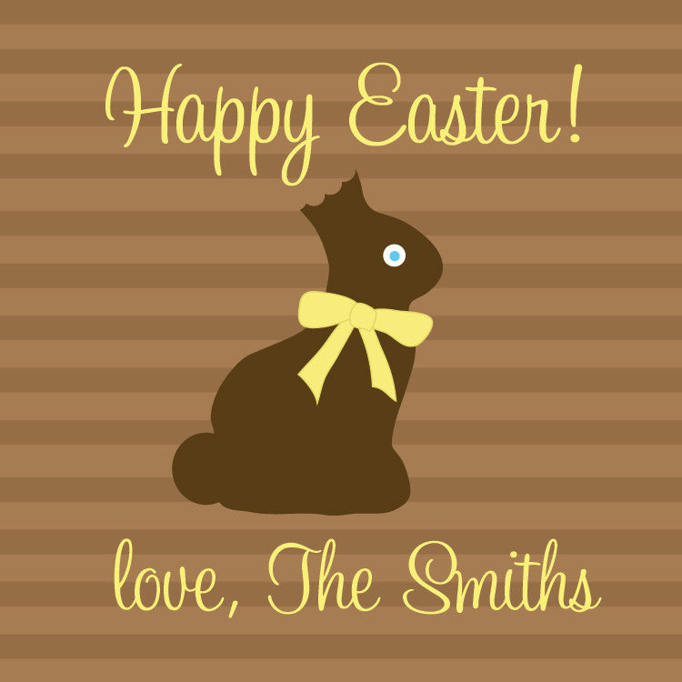 Chocolate bunny brown and yellow gift tag for Easter