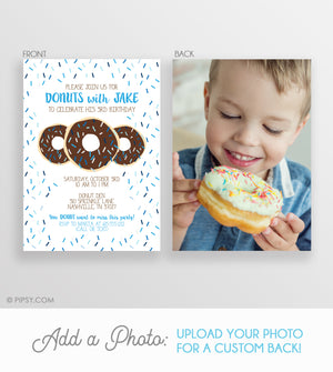 Donut Invitations Blue (DIY Printable)