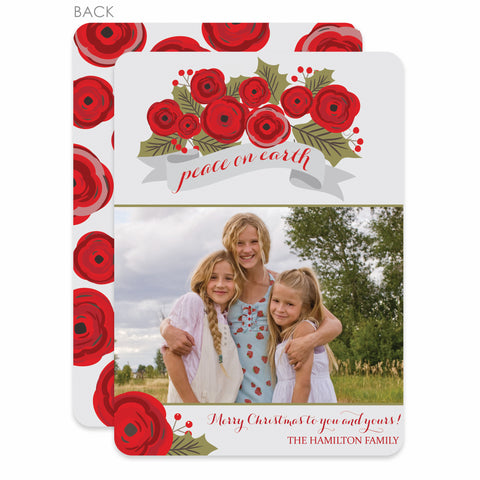 Christmas Roses Holiday Photo Card