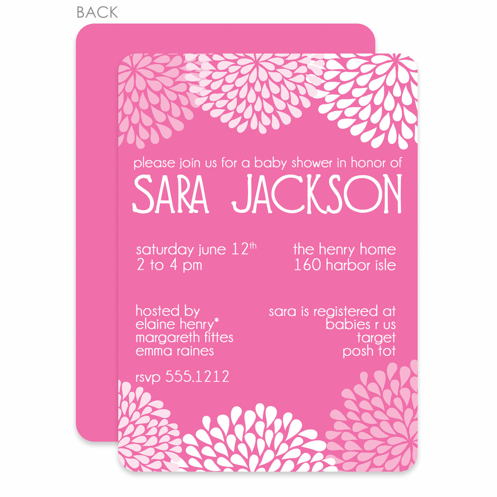 Chrysanthemum Pink Baby Shower Invitation