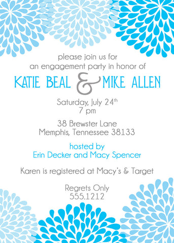 Chrysanthemum engagement party invitation