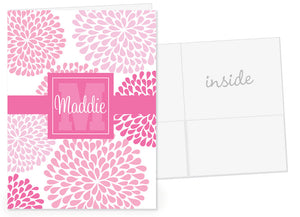 Chrysanthemum in pink with pink name band pocket folder
