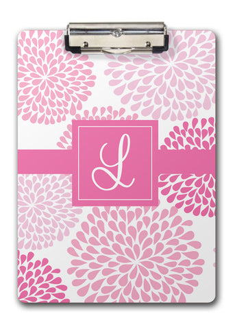 Pink chrysanthemum with large initial monogram clipboard