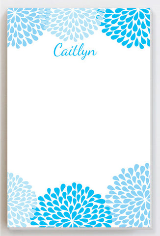 chrysanthemum blue notepad
