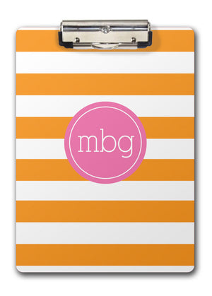 orange and white chunky stripe with hot pink monogram