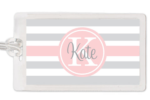 chunky stripes pink and grey bag tag