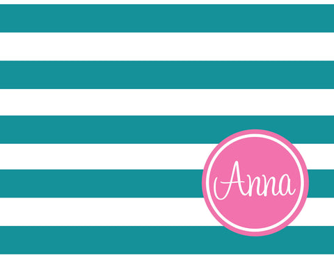 Chunky stripes with name folded notecards