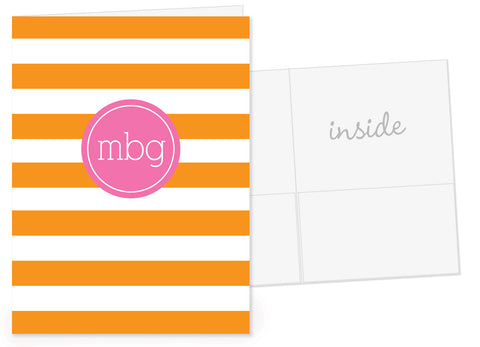 Chunky stripes in orange with hot pink monogram on pocket folder