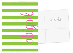 Chunky stripes in green with hot pink dot for name pocket folder