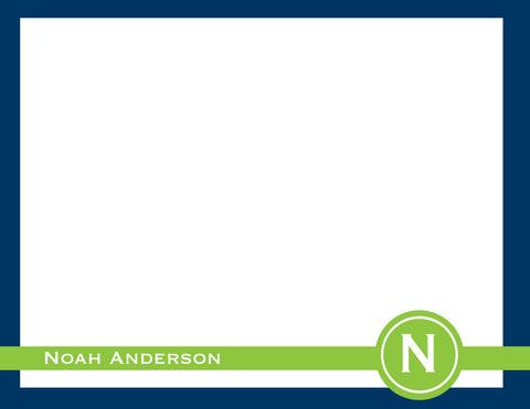 navy and green circle initial flat notecards