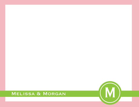 pink and green circle initial flat notecards