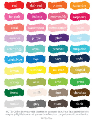 Personalized Custom Color Chart