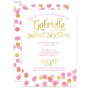 Confetti Sweet Sixteen Birthday Invitation | Swanky Press