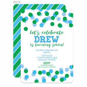 Confetti Party Birthday Invitation | Swanky Press | Green & Blue