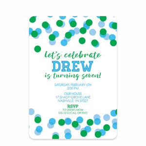 Confetti Party Birthday Invitation | Swanky Press | Front