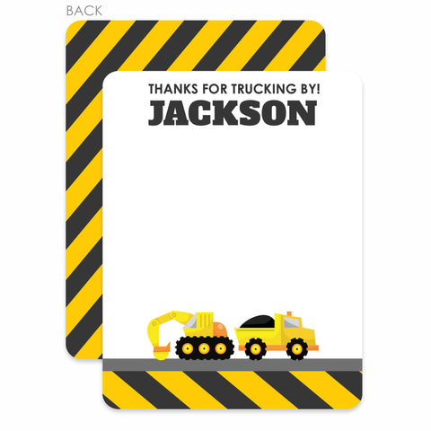 Construction Party Flat Notecard | Swanky Press | Backhoe and Dump Truck