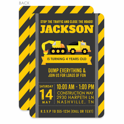 Construction Birthday Invitations (Printed)