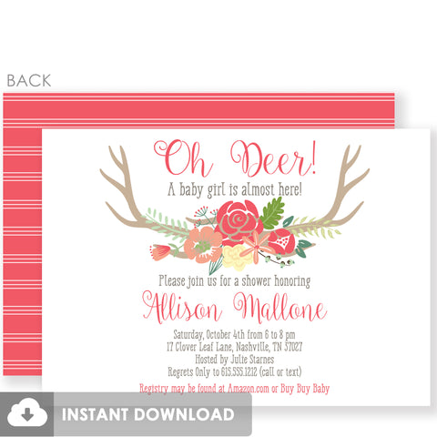 Girl Baby Shower Oh Deer Invitations in Coral | Templett Invitation | Fully Editable Instant Download | PIPSY.COM