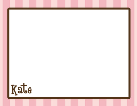 pink striped notecards
