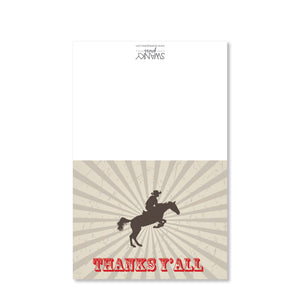 Cowboy on a Horse Folded Notecards | Swanky Press | Full Image